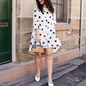 Shirt Dress | Polka Dot shirt dress | White dress